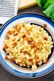 Mac and cheese with bacon Stock Image
