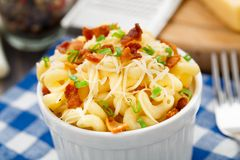 Mac and cheese with bacon Stock Photos