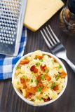 Mac and cheese with bacon Stock Photo