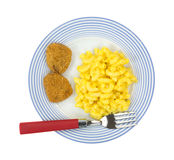 Mac and cheese with chicken nugget meal Royalty Free Stock Image