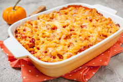 Mac and cheese with ham, pumpkin. Delicious mac and cheese with ham and pumpkin royalty free stock images