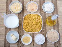 Mac and cheese ingredients Royalty Free Stock Photos
