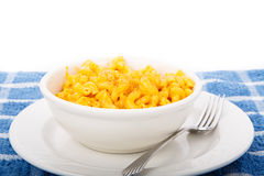 Mac and Cheese in White Bowl Stock Photo