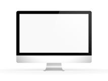 Mac computer screen frontal. Image of a generic monoblock computer looking like iMac without logo on a white background
