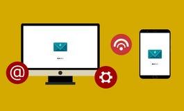 Mac contra el ejemplo androide del vector de los mensajes de la abertura Aislado stock de ilustración