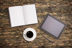 Mac. Ipad desk phone book table nobody Royalty Free Stock Images