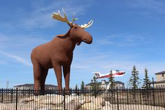 Mac the Moose giant moose sculpture on display at Moose Jaw Saskatchewan. Mac the Moose sculpture and snowbirds aircraft at Moose Jaw Saskatchewan Canada royalty free stock image