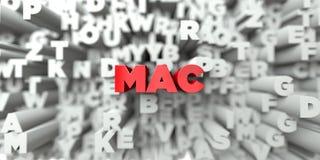 MAC - Texto rojo en fondo de la tipografía - 3D rindió imagen común libre de los derechos Imágenes de archivo libres de regalías