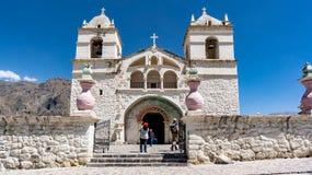 Maca Church in Colca Canyon area. Chivay, Caylloma, Peru. stock photography