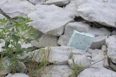 Maca da tampa do isopor colada nas rochas fotografia de stock royalty free