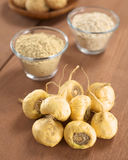 Maca or Peruvian Ginseng Roots. Fresh maca roots or Peruvian ginseng (lat. Lepidium meyenii) which are popular in Peru for their various health effects with maca stock image