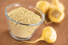 Maca Powder and Maca Root Stock Photo