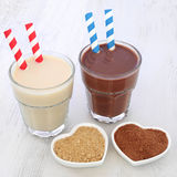Maca Root Herb and Chocolate Whey Protein Drinks Royalty Free Stock Photo