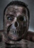 Macabre face. Half flesh half bones - digital illustration stock illustration
