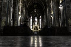 Macabre HDR photo of the interior of basilica of saint Peter and Paul in Prague Royalty Free Stock Photo