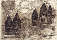 Macabre houses in storm stock photo