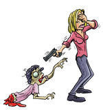 Do not get emotionally attached. Macabre humorous image of a crying woman covering her eyes and aiming a gun at an evil ghoulish zombie, a conceptual warning Royalty Free Stock Image