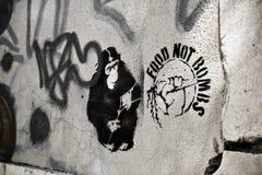 Macaco abstrato Portugal Lisboa de Streetart dos grafittis de Brickwall fotos de stock