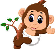 Macaco bonito dos desenhos animados Imagens de Stock Royalty Free