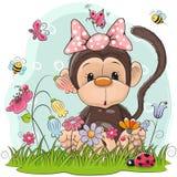 Macaco bonito dos desenhos animados em um prado ilustração do vetor