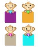 Macaco bonito que guarda a joia e o vário sinal Grupo de macaco ilustração royalty free