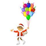 Macaco com balões brilhantes ilustração stock