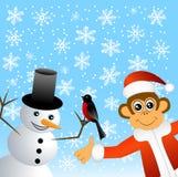 Macaco com dom-fafe e boneco de neve ilustração do vetor