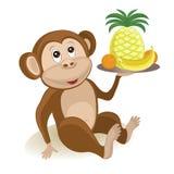 Macaco com frutos Fotos de Stock Royalty Free
