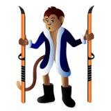 Macaco com os esquis no casaco de pele de Santa ilustração royalty free