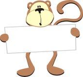 Macaco com placa em branco ilustração stock