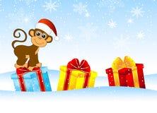 Macaco com presentes ilustração stock