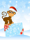 Macaco com um vale-oferta ilustração do vetor
