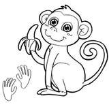 Macaco com vetor da página da coloração da cópia da pata Foto de Stock