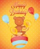 Macaco do circo do cartão-estilo do aniversário Fotografia de Stock Royalty Free