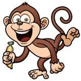 Macaco dos desenhos animados com banana ilustração do vetor