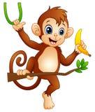 Macaco dos desenhos animados em uma árvore do ramo e banana guardar ilustração do vetor