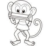 Macaco dos desenhos animados que joga uma harmônica Imagem de Stock