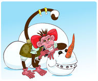 Macaco e boneco de neve Fotos de Stock