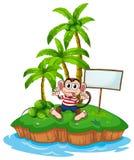 Macaco e ilha Fotos de Stock Royalty Free