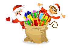 Macaco e Santa Claus com um saco dos presentes ilustração royalty free