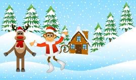 Macaco e um cervo na floresta do inverno ilustração stock