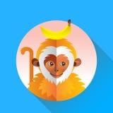 Macaco engraçado bonito com banana ilustração stock