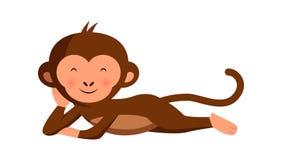 Macaco engraçado bonito que relaxa ilustração stock