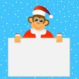 Macaco engraçado em um chapéu do Natal que guarda uma bandeira vazia ilustração stock
