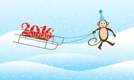 Macaco engraçado em um trenó conduzido pelos números 2016 Fotografia de Stock Royalty Free