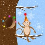 Macaco engraçado que senta-se em um ramo de árvore ilustração stock