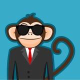 Macaco no terno do homem de negócio com desenhos animados pretos dos óculos de sol Fotografia de Stock Royalty Free