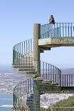 Macaco ou macaco de Barbary que sentam-se em etapas espirais em Gibraltar Imagem de Stock Royalty Free