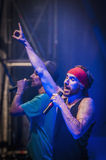 Macaco performs at the Hard Rock Rocks la Merce. BARCELONA - SEP 22: Spanish singer Macaco performs at the Hard Rock Rocks La Merce concert within La Merce Royalty Free Stock Image