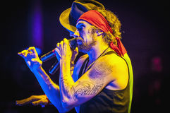 Macaco performs at the Hard Rock Rocks la Merce. BARCELONA - SEP 22: Spanish singer Macaco performs at the Hard Rock Rocks La Merce concert within La Merce Stock Images